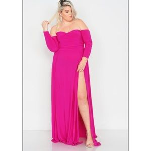 Dresses & Skirts - Hot Pink High split long Maxi Plus Size Dress